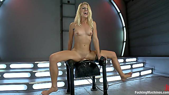 Kinky Blonde Ends Up Having An Orgasm Fucking With Machine