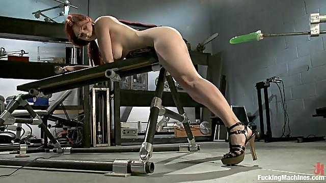 Busty Redhead Has An Orgasm With A Machine