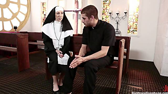 Nasty nun gangbanged in church