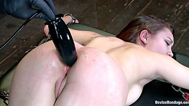 Pussy & Asshole Stuffed while Restrained in BDSM Session