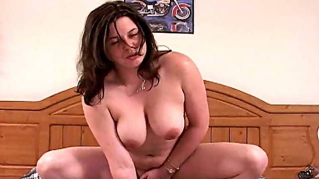 Chubby bitch with big tits gets fucking nailed
