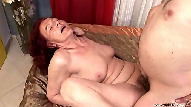 Horny granny is splattered by semen after being fucked