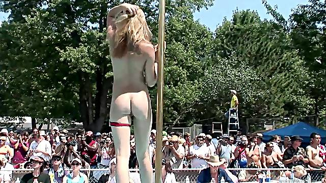 Pole dancing contest with naked bitches!