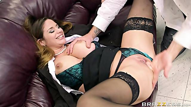 Erotic fucking on the leather sofa with stunning Cathy Heaven