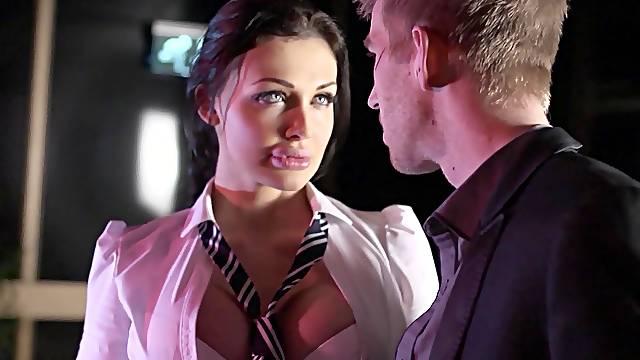 Facial ending for desirable brunette Aletta Ocean after riding her boss