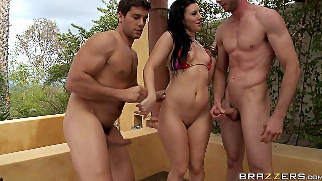Wild MMF threesome with double penetration for sexy Ashli Orion