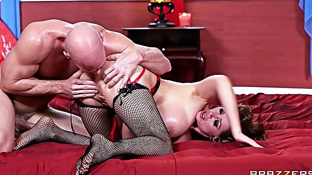Large fake boobs Kianna Dior gives a massage and rides a long dick