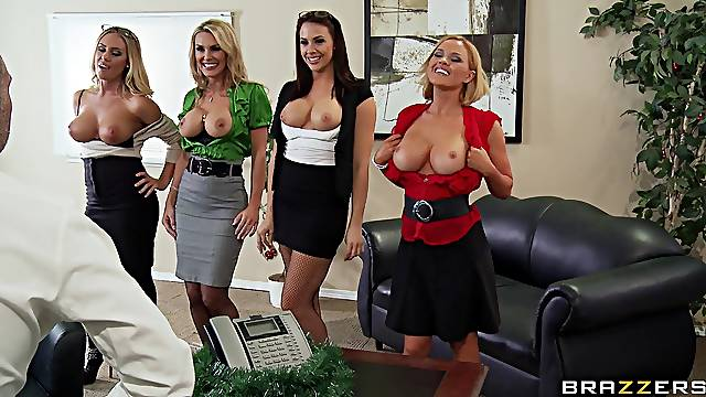 Group sex with a big dick guy and three irresistible pornstars
