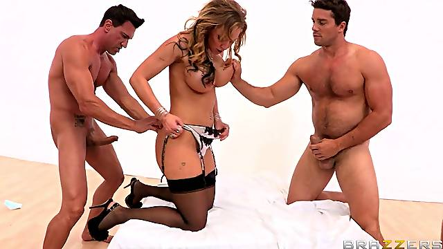 Two rock hard wieners make Nikki Sexx scream with pleasure